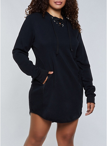 Plus Size Zip Back Hooded Sweatshirt Dress,BLACK,large