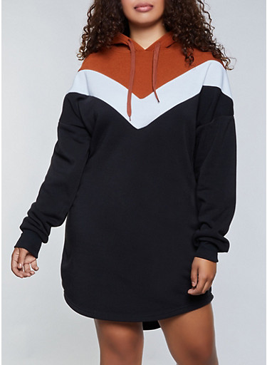 Plus Size Chevron Hooded Sweatshirt Dress