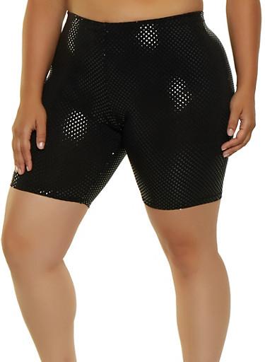 Plus Size Foil Polka Dot Bike Shorts,BLACK,large