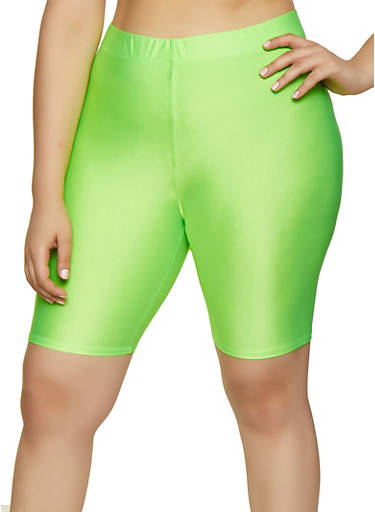 Plus Size Neon Bike Shorts,LIME,large