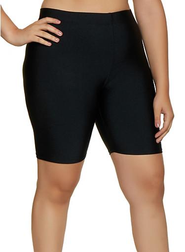 Plus Size Solid Spandex Bike Shorts,BLACK,large