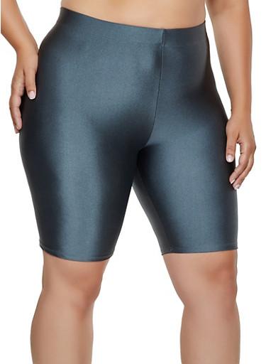 Plus Size Spandex Bike Shorts   3931063408801,CHARCOAL,large