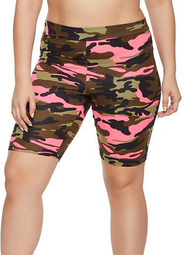 Plus Size Printed Soft Knit Bike Shorts,NEON PINK,large