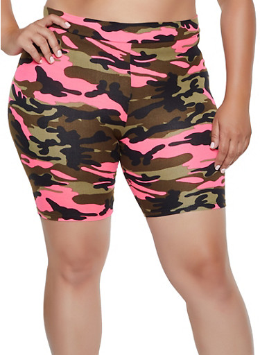 Plus Size Camo Bike Shorts | 3931068516771,FUCHSIA,large