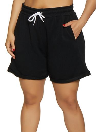 Plus Size Fleece Lined Sweatshorts,BLACK,large