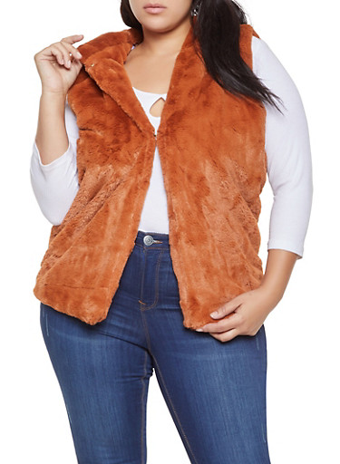 Plus Size Hooded Faux Fur Vest,BROWN,large