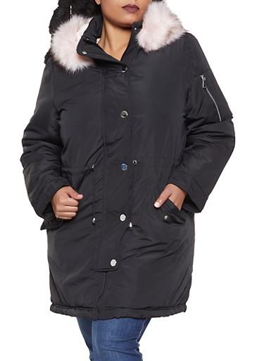 Plus Size Faux Fur Lined Anorak Jacket,BLACK,large