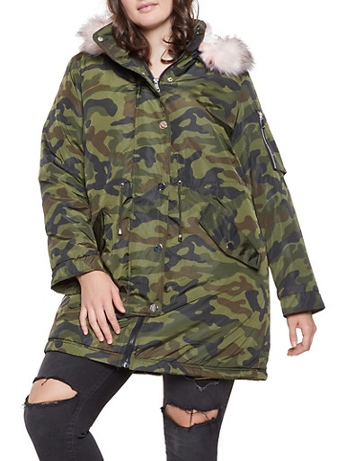 Plus Size Camo Faux Fur Lined Parka,OLIVE,large