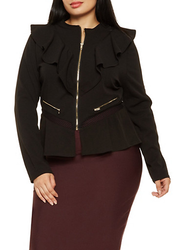 Plus Size Zip Front Ruffle Blazer,BLACK,large