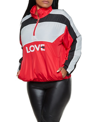Plus Size Half Zip Love Windbreaker,RED,large