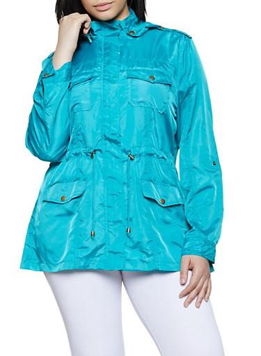 Plus Size Nylon Anorak Jacket,TEAL,large