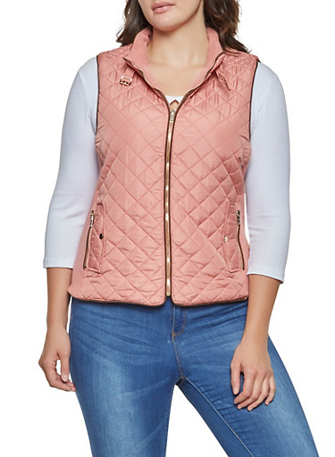 Plus Size Quilted Zip Up Vest,BLUSH,large