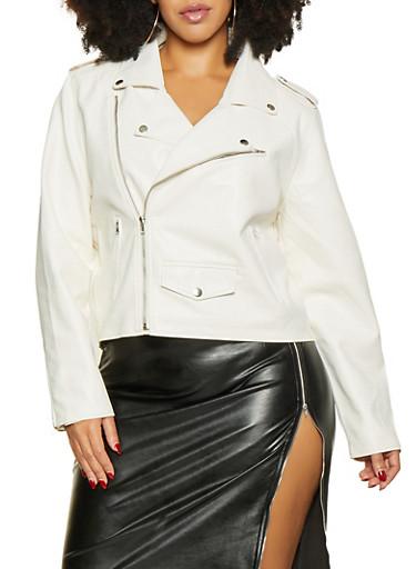 Plus Size Asymmetrical Zip Moto Jacket,WHITE,large