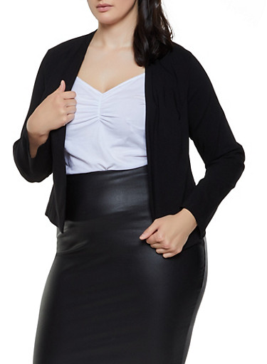 Plus Size Stretch Blazer | 3932068510815,BLACK,large