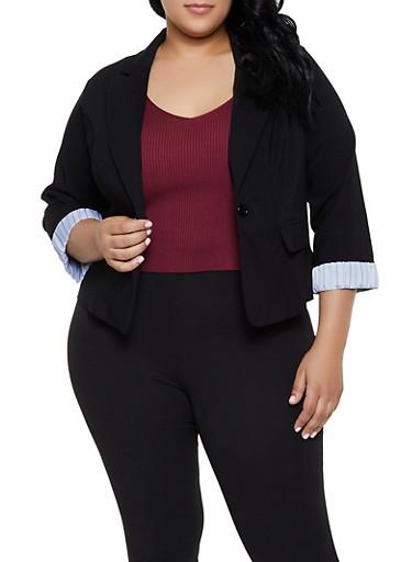 Plus Size Printed Cuff Blazer,BLACK,large