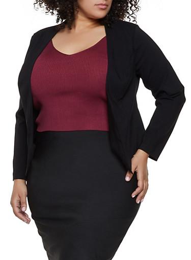 Plus Size Pointed Hem Stretch Blazer,BLACK,large