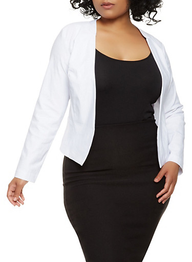 Plus Size Stretch Blazer,WHITE,large