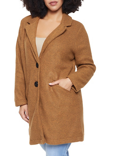 Plus Size 2 Button Peacoat,MUSTARD,large