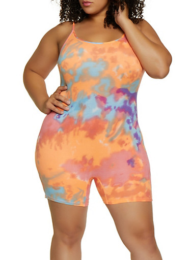 Plus Size Soft Knit Tie Dye Romper,NEON ORANGE,large