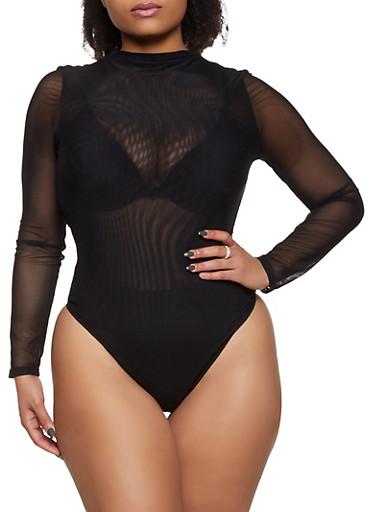 Plus Size High Neck Mesh Bodysuit,BLACK,large