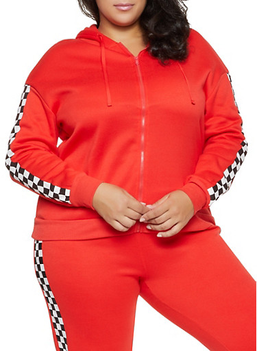 Plus Size Checkered Sleeve Sweatshirt,RED,large