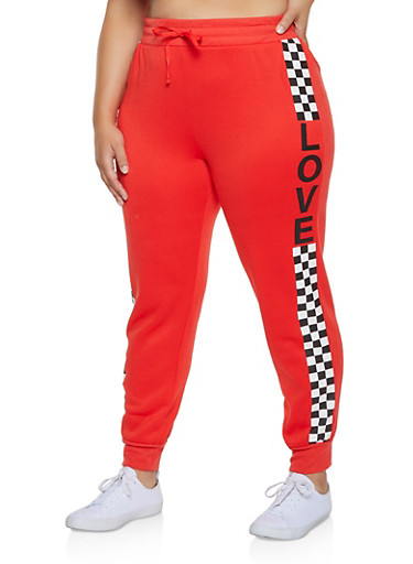 Plus Size Checkered Love Graphic Joggers,RED,large