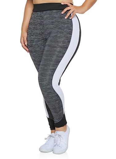 Plus Size Color Block Leggings,CHARCOAL,large