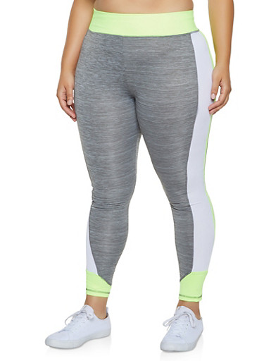 Plus Size Color Block Leggings,LIME,large