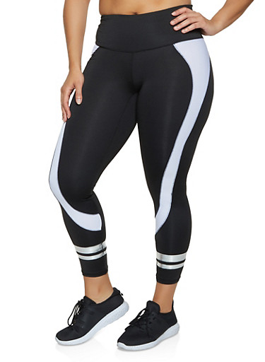 Plus Size Color Block Varsity Stripe Leggings,BLACK,large