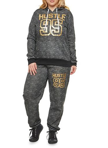 Plus Size Hustle Graphic Hooded Sweatshirt,BLACK,large