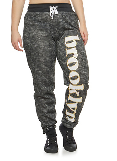 Plus Size Brooklyn Graphic Sweatpants,BLACK,large