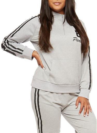 Plus Size Half Zip Paradise Graphic Sweatshirt,GRAY,large