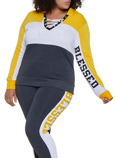 Plus Size Lace Up Blessed Sweatshirt,MUSTARD,large