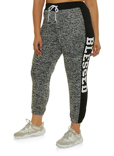 Plus Size Blessed Color Block Joggers,GRAY,large