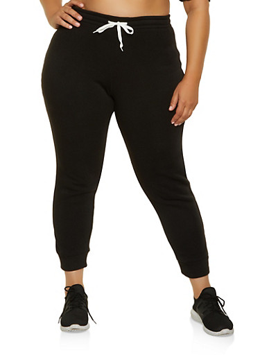 Plus Size Fleece Lined Joggers,BLACK,large