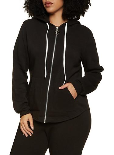 Plus Size Zip Front Sweatshirt,BLACK,large