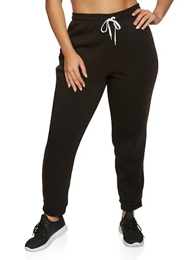 Plus Size Fleece Lined Joggers | 3951038347253,BLACK,large