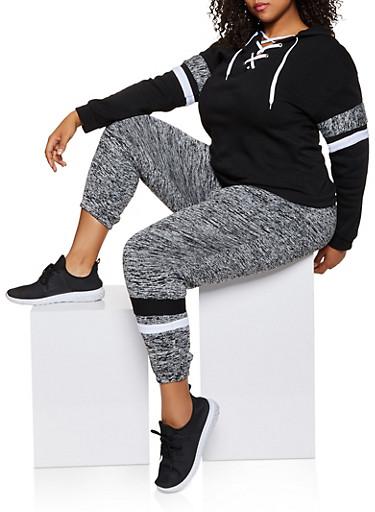 Plus Size Color Block Stripe Detail Sweatshirt,BLACK,large