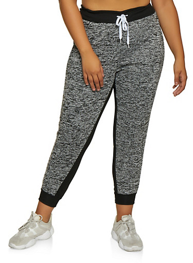 Plus Size Fleece Lined Joggers | 3951038347508,GRAY,large