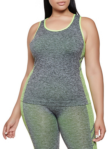 Plus Size Chevron Detail Active Tank Top,LIME,large
