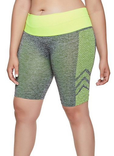 Plus Size Chevron Detail Bike Shorts,LIME,large