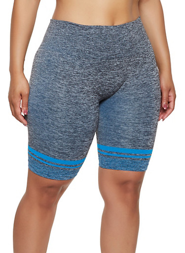 Plus Size Dot Print Bike Shorts,TURQUOISE,large