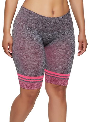 Plus Size Dot Print Bike Shorts,PINK,large