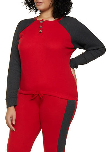 Plus Size Thermal Color Block Top,RED,large