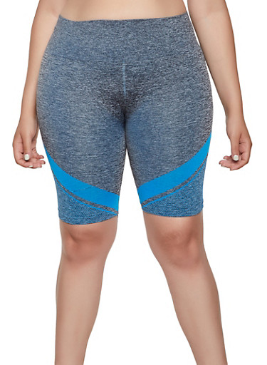 Plus Size Chevron Detail Seamless Bike Shorts,TURQUOISE,large