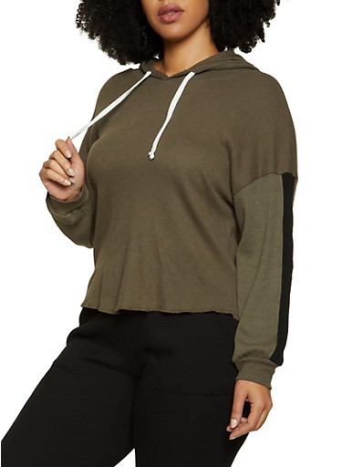 Plus Size Thermal Hooded Top,OLIVE,large