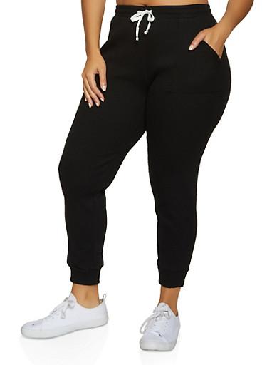 Plus Size Thermal Joggers,BLACK,large