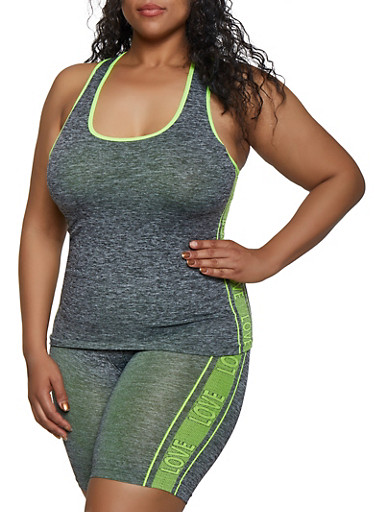 Plus Size Love Trim Seamless Active Tank Top,LIME,large