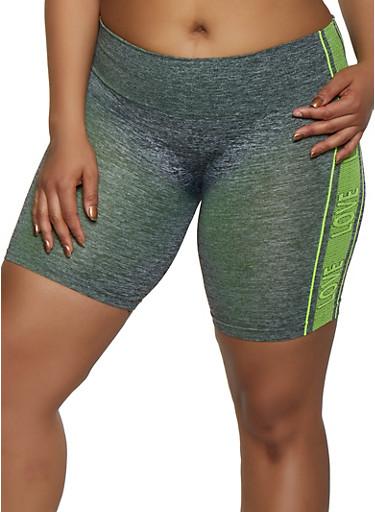Plus Size Love Trim Seamless Bike Shorts,LIME,large