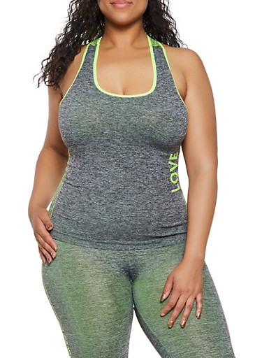 Plus Size Marled Love Mesh Print Active Tank Top,LIME,large